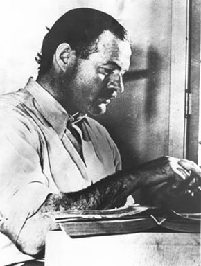 The picture of Hemingway that appeared with the first edition of For Whom The Bell Tolls.