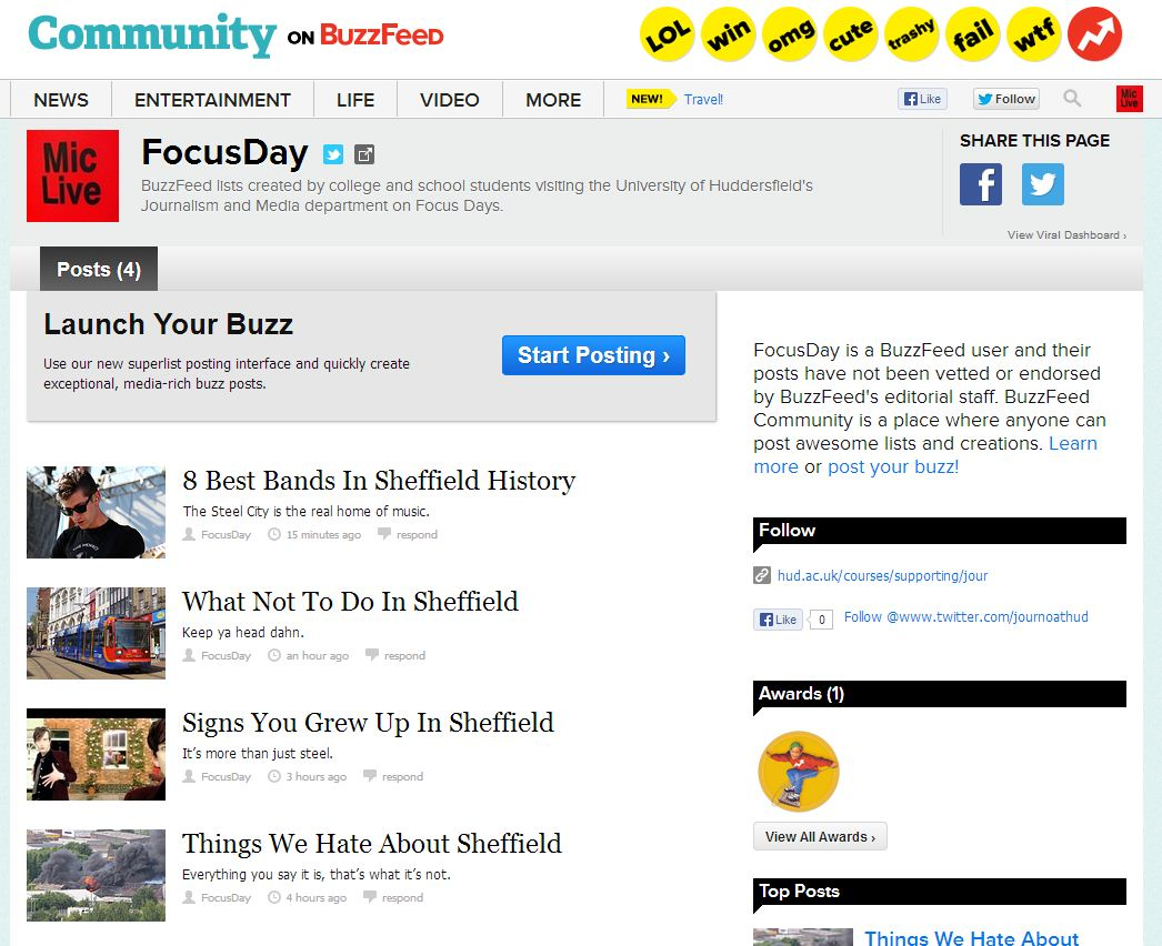 The BuzzFeed Community dashboard.