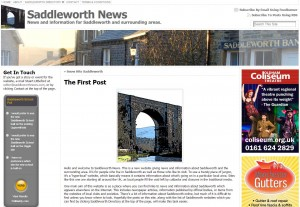 The first post on Saddleworth News, 16th February 2010.